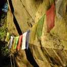 Tibetan flags mark the refuge for pilgrims