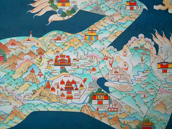 Tibetan map of the area from Lhasa to Pemako