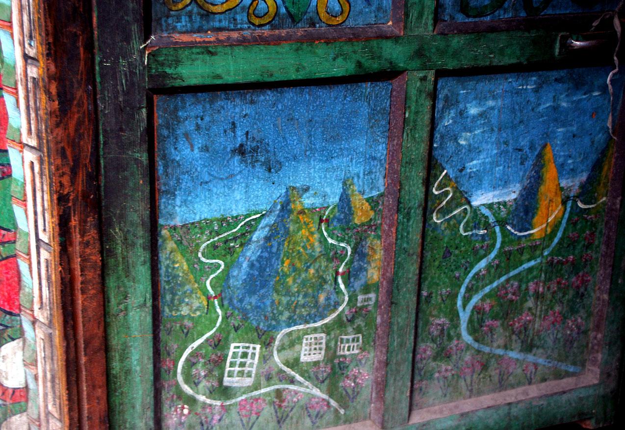 Великие реки Тибета, Ярлунг Цангпо (Брахмапутра) и Нак-чу (Салуин) в росписи тибетского дома