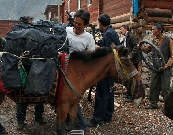 Никто не остался без дела. Таши крепит велорюкзаки на лошадь, Самурай вяжет велосипеды, папа Ньимы стоит наготове с колесом