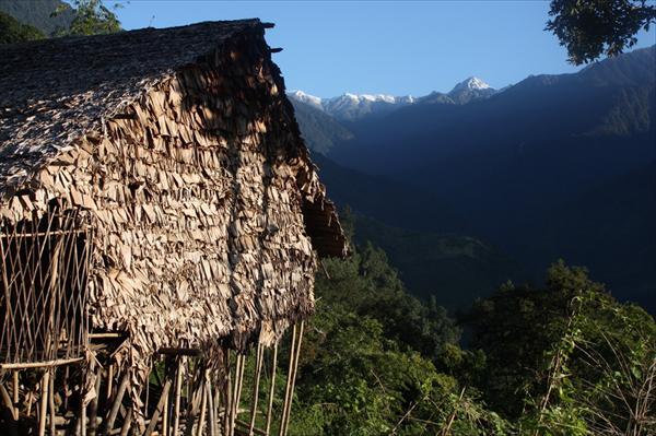 Деревня лопа в индийской части Великого Поворота. Традиционный дом из бамбука и пальмовых листьев.