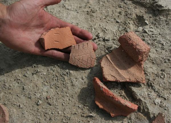 Фрагменты керамики с орнаментами