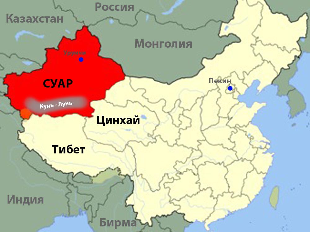 Карта Китая. Красным выделен